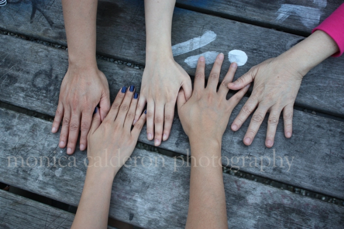 Photography portfolio item Hands on table of five women in the family