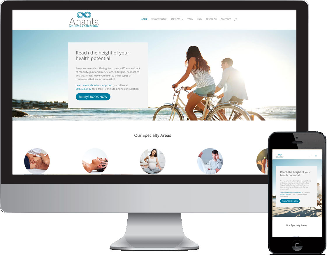 Ananta Osteopathy and Wellness website desktop and mobile view