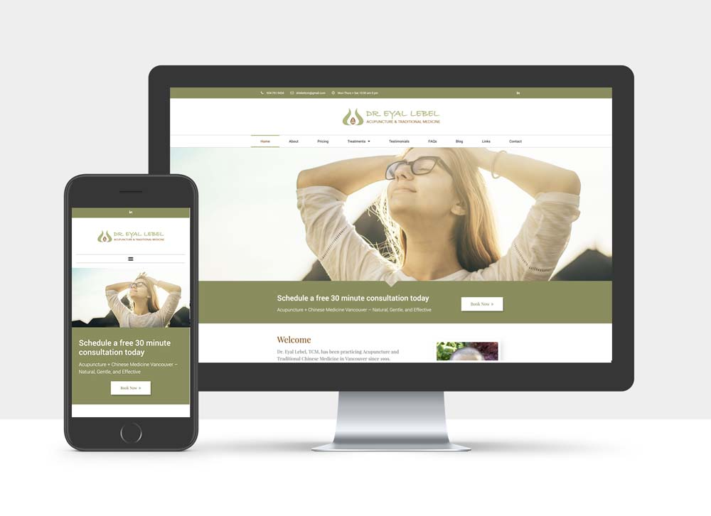 Desktop and  mobile view of website of Dr Eyal Lebel Acupuncture & Traditional Medicine