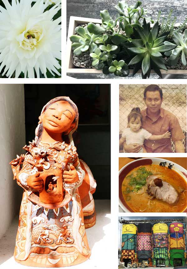 Photo collage of personal pictures of family and art and indoor plants