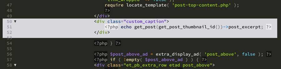 Code screenshot for adding caption