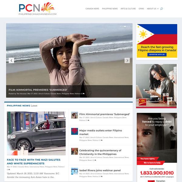 Screenshot philippinecanadiannews.com WordPress website