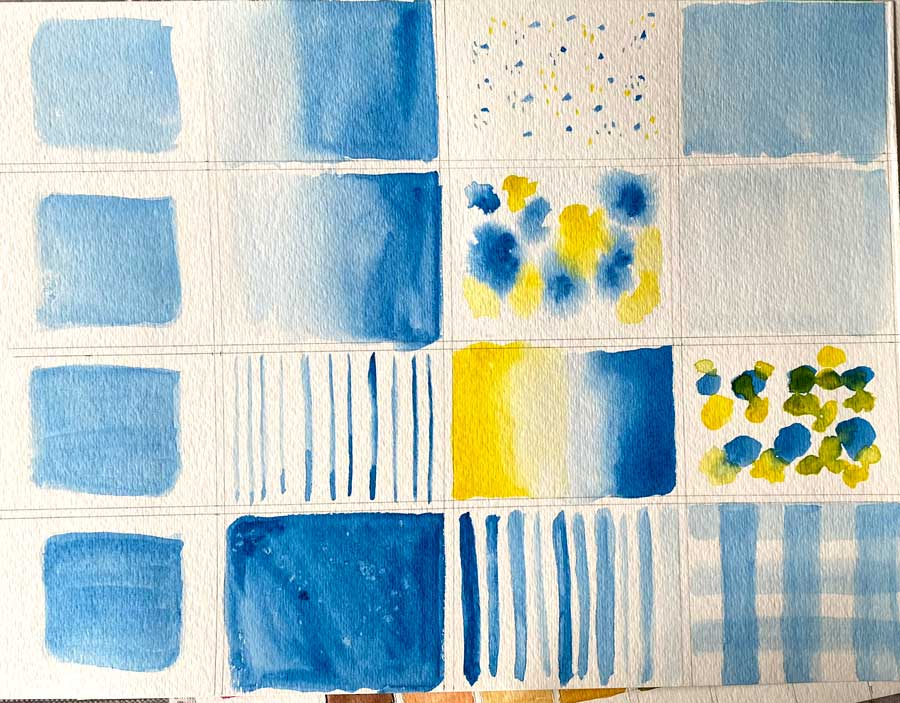 Watercolour on paper, squares for practice
